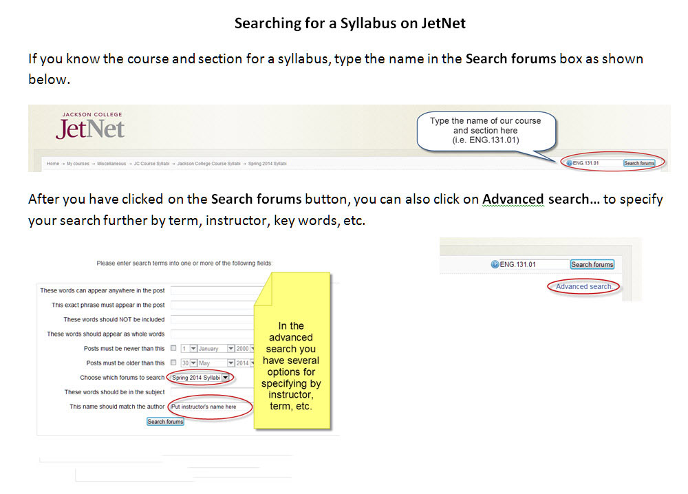 Syllabus Search Instructions